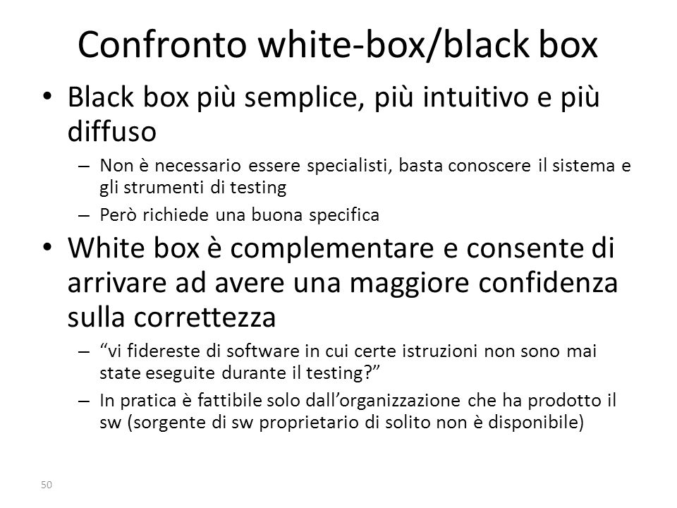 Confronto white-box/black box