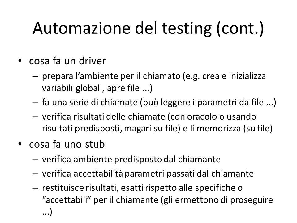 Automazione del testing (cont.)