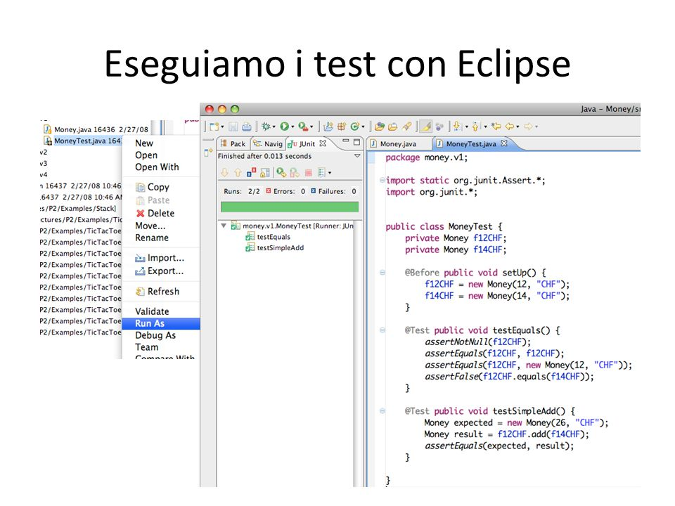 Eseguiamo i test con Eclipse