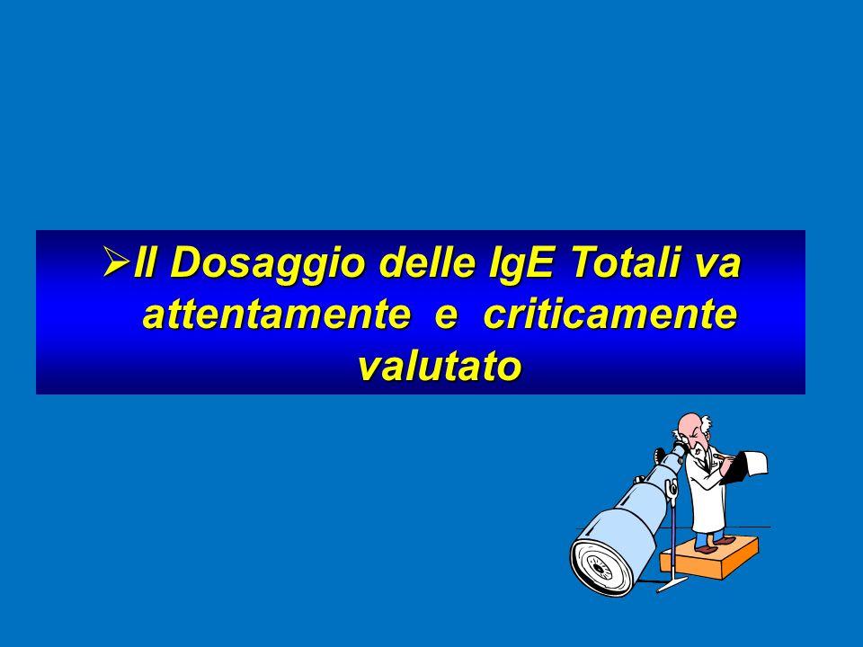 Il Dosaggio delle IgE Totali va attentamente e criticamente