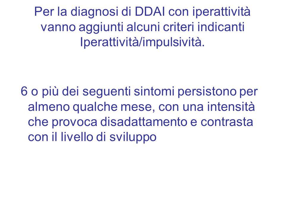 Per la diagnosi di DDAI con iperattività vanno aggiunti alcuni criteri indicanti Iperattività/impulsività.