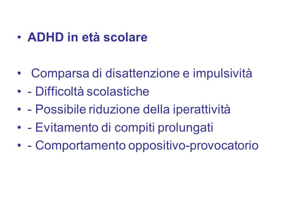 ADHD in età scolare Comparsa di disattenzione e impulsività. - Difficoltà scolastiche. - Possibile riduzione della iperattività.