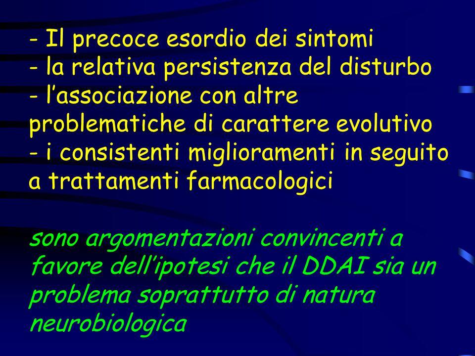 - Il precoce esordio dei sintomi - la relativa persistenza del disturbo - l'associazione con altre problematiche di carattere evolutivo - i consistenti miglioramenti in seguito a trattamenti farmacologici sono argomentazioni convincenti a favore dell'ipotesi che il DDAI sia un problema soprattutto di natura neurobiologica