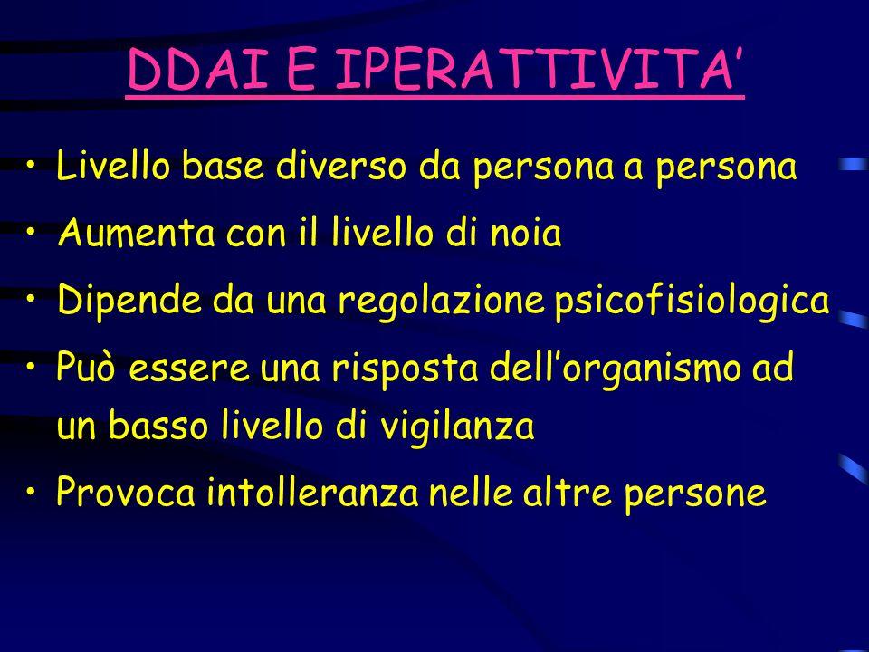 DDAI E IPERATTIVITA' Livello base diverso da persona a persona