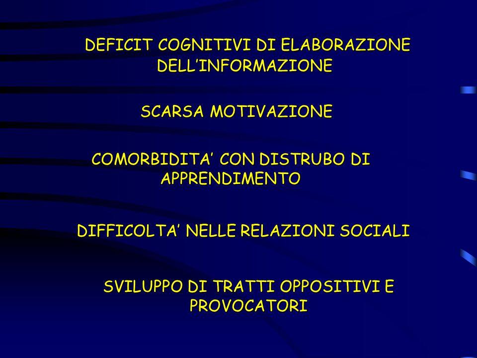 DEFICIT COGNITIVI DI ELABORAZIONE DELL'INFORMAZIONE