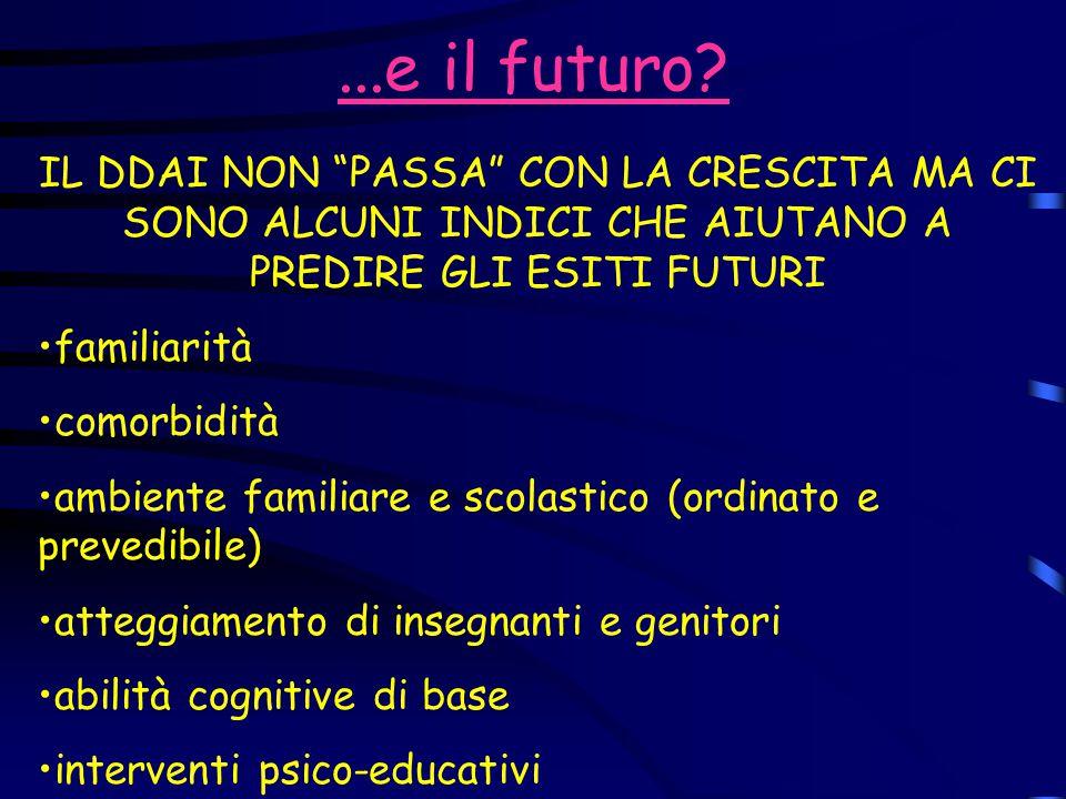 ...e il futuro IL DDAI NON PASSA CON LA CRESCITA MA CI SONO ALCUNI INDICI CHE AIUTANO A PREDIRE GLI ESITI FUTURI.