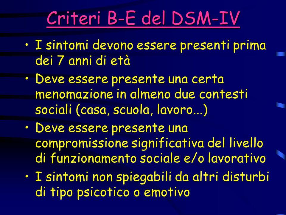 Criteri B-E del DSM-IV I sintomi devono essere presenti prima dei 7 anni di età.