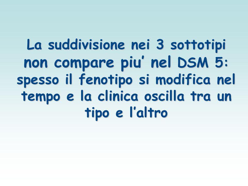 La suddivisione nei 3 sottotipi non compare piu' nel DSM 5: