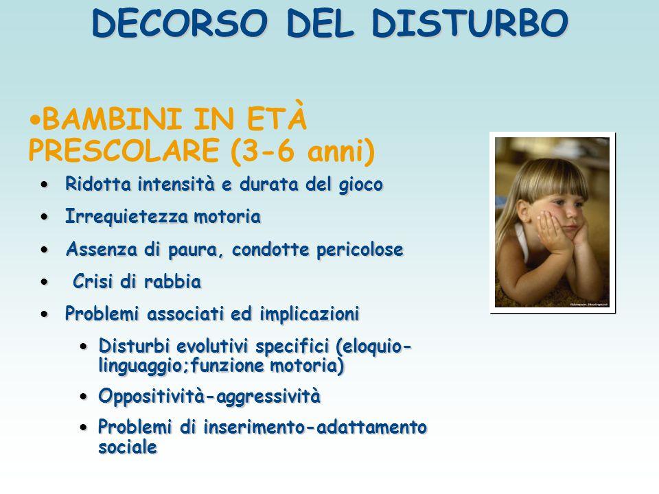 DECORSO DEL DISTURBO BAMBINI IN ETÀ PRESCOLARE (3-6 anni)
