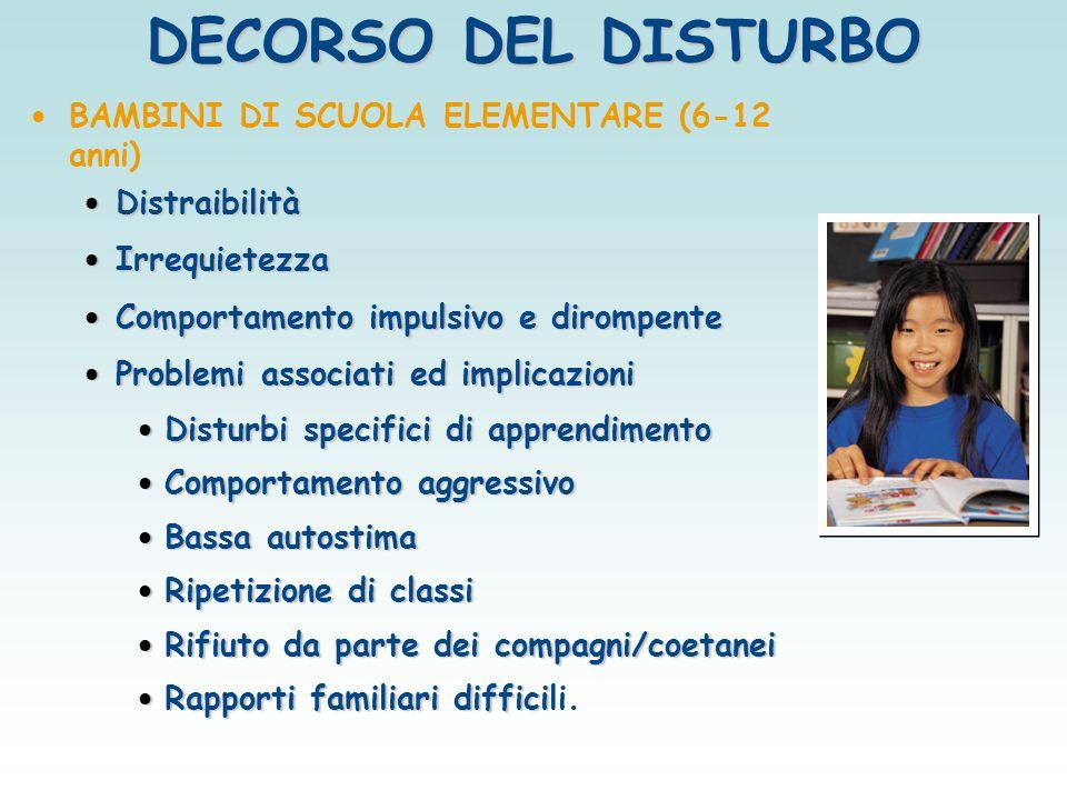 DECORSO DEL DISTURBO BAMBINI DI SCUOLA ELEMENTARE (6-12 anni)