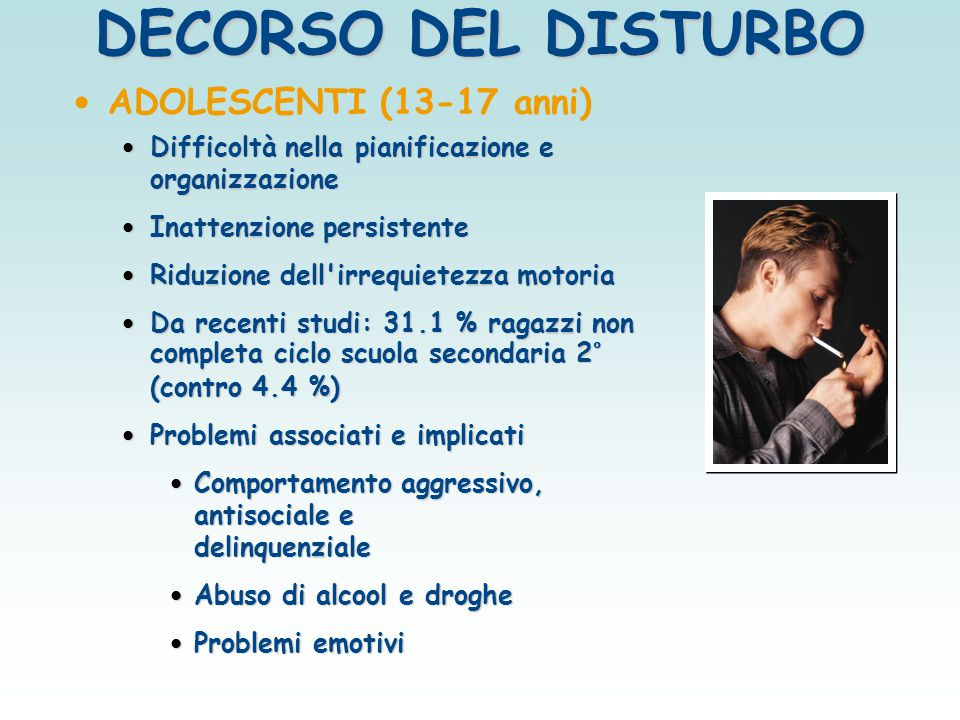 DECORSO DEL DISTURBO ADOLESCENTI (13-17 anni)