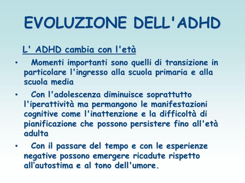 EVOLUZIONE DELL ADHD L ADHD cambia con l età