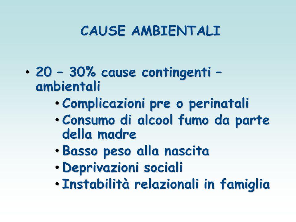 20 – 30% cause contingenti – ambientali Complicazioni pre o perinatali