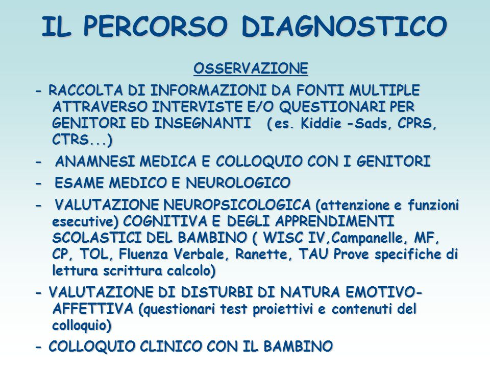 IL PERCORSO DIAGNOSTICO