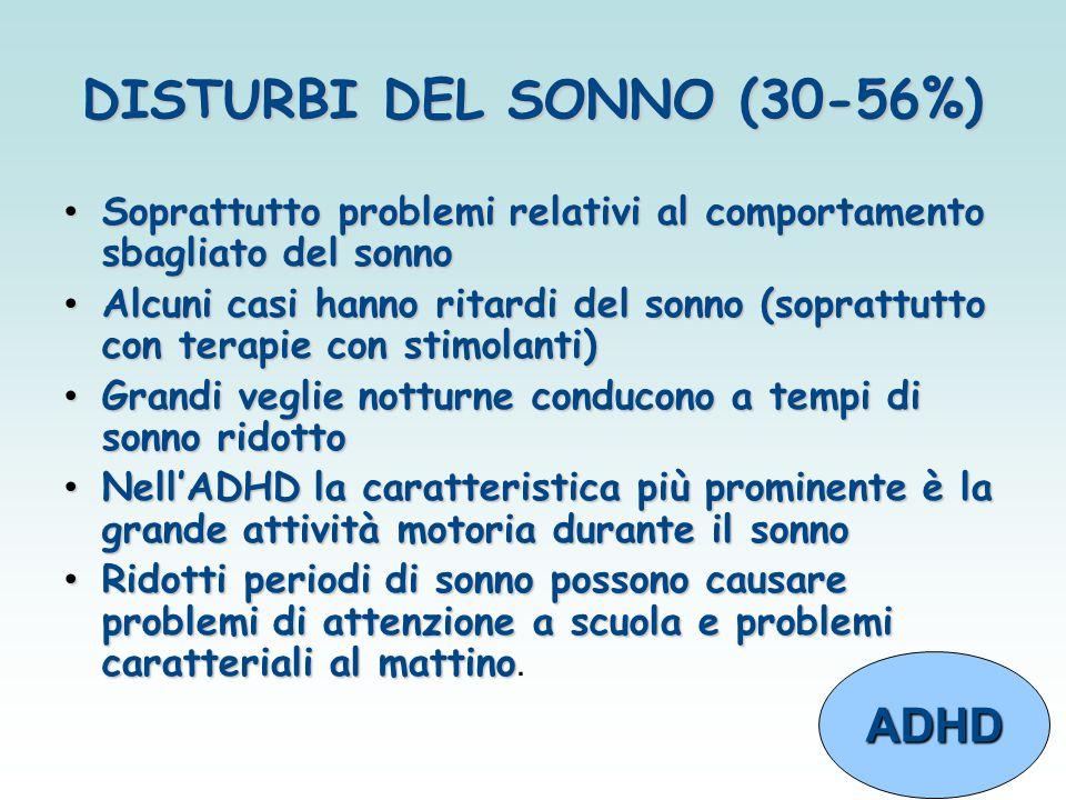 DISTURBI DEL SONNO (30-56%)