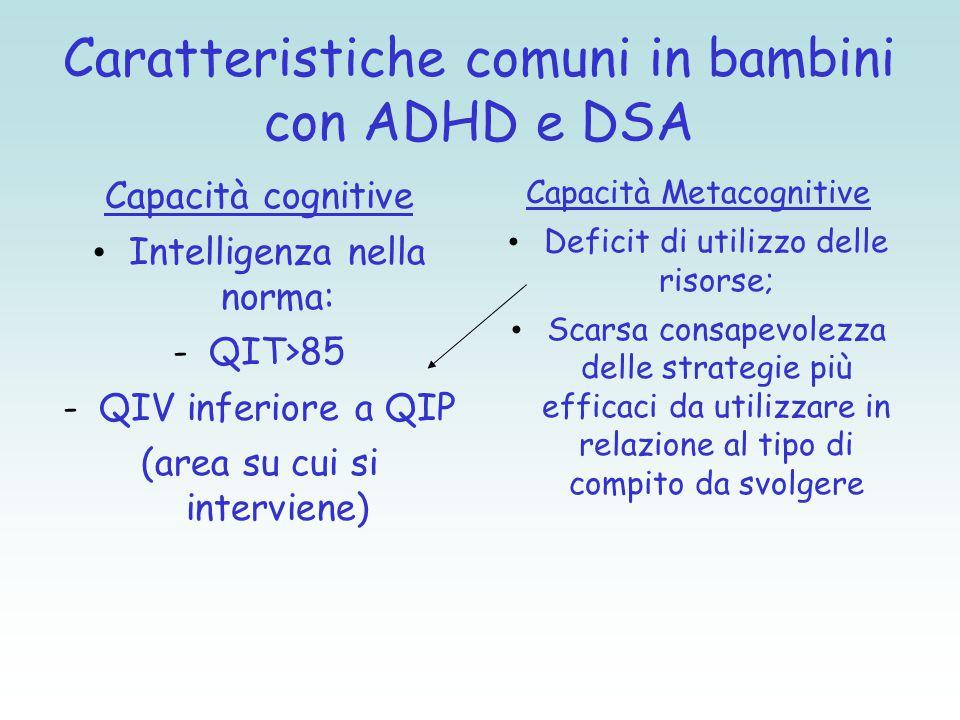 Caratteristiche comuni in bambini con ADHD e DSA