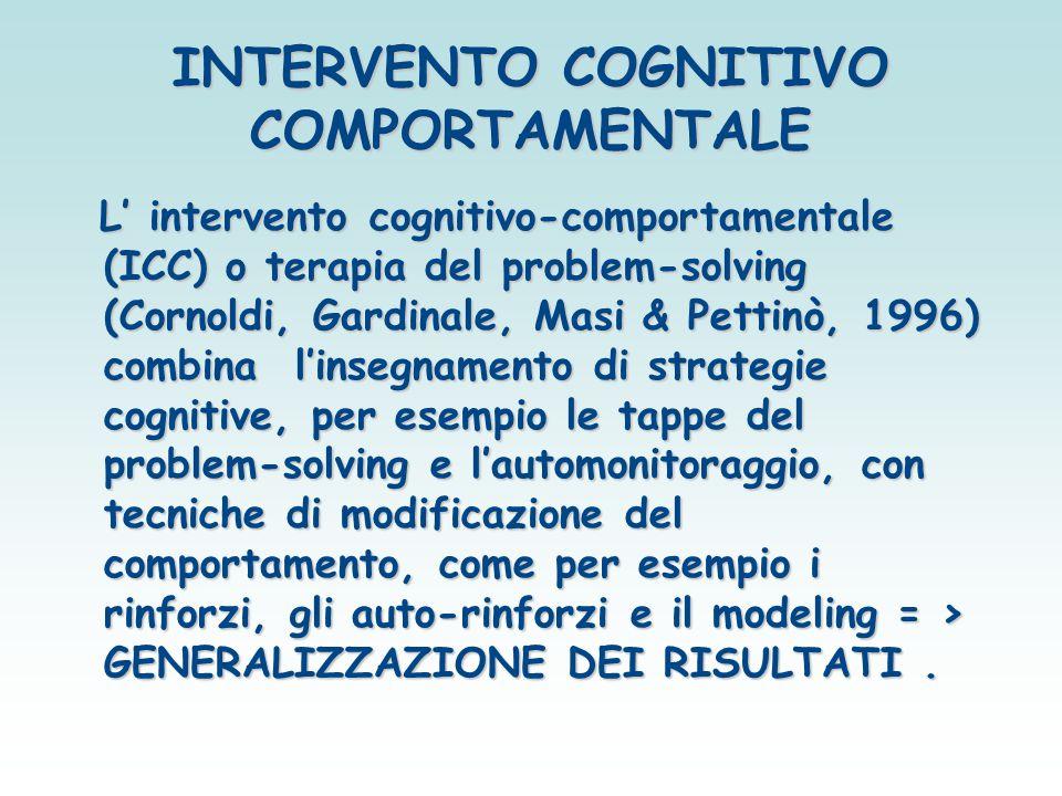 INTERVENTO COGNITIVO COMPORTAMENTALE