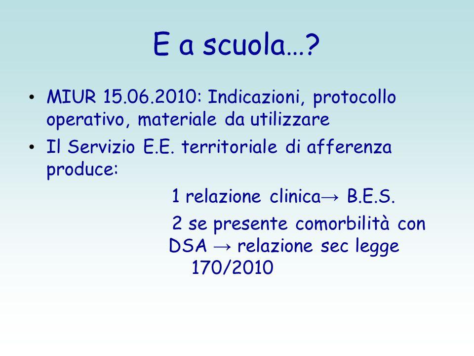 E a scuola… MIUR 15.06.2010: Indicazioni, protocollo operativo, materiale da utilizzare. Il Servizio E.E. territoriale di afferenza produce: