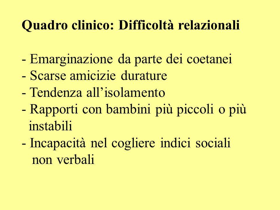 Quadro clinico: Difficoltà relazionali
