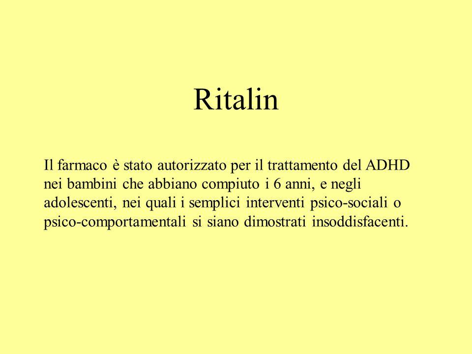 Ritalin Il farmaco è stato autorizzato per il trattamento del ADHD nei bambini che abbiano compiuto i 6 anni, e negli adolescenti, nei quali i semplici interventi psico-sociali o psico-comportamentali si siano dimostrati insoddisfacenti.