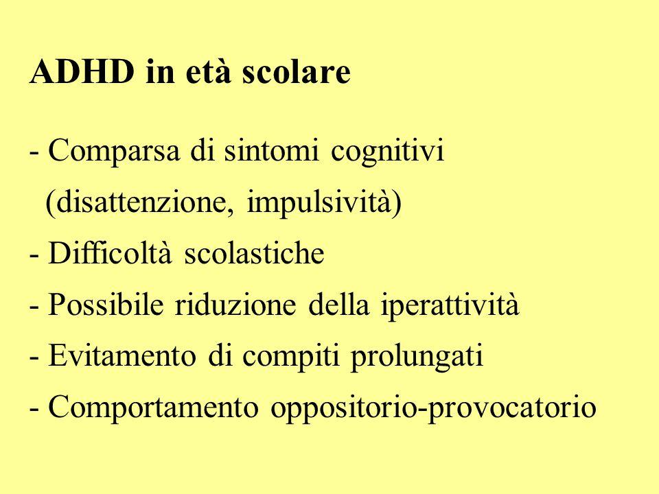 ADHD in età scolare - Comparsa di sintomi cognitivi