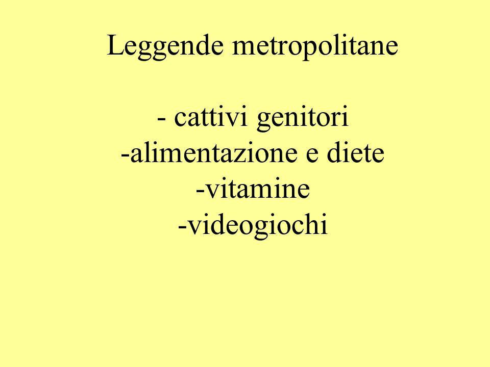 Leggende metropolitane - cattivi genitori -alimentazione e diete -vitamine -videogiochi