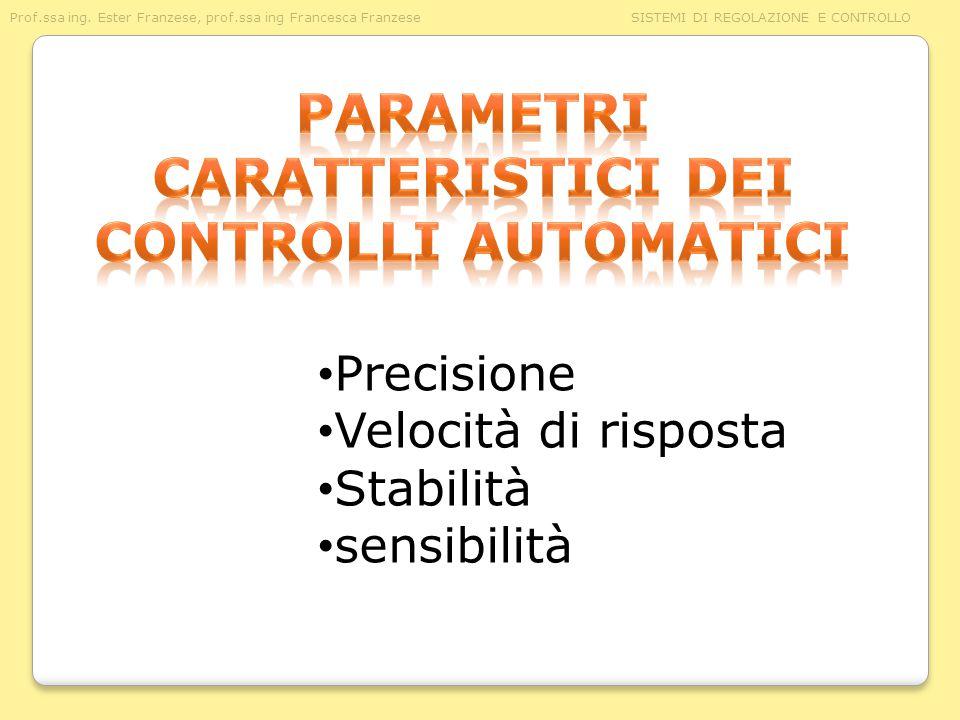 Parametri caratteristici dei controlli automatici