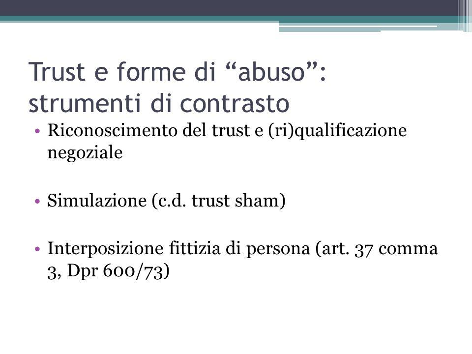 Trust e forme di abuso : strumenti di contrasto
