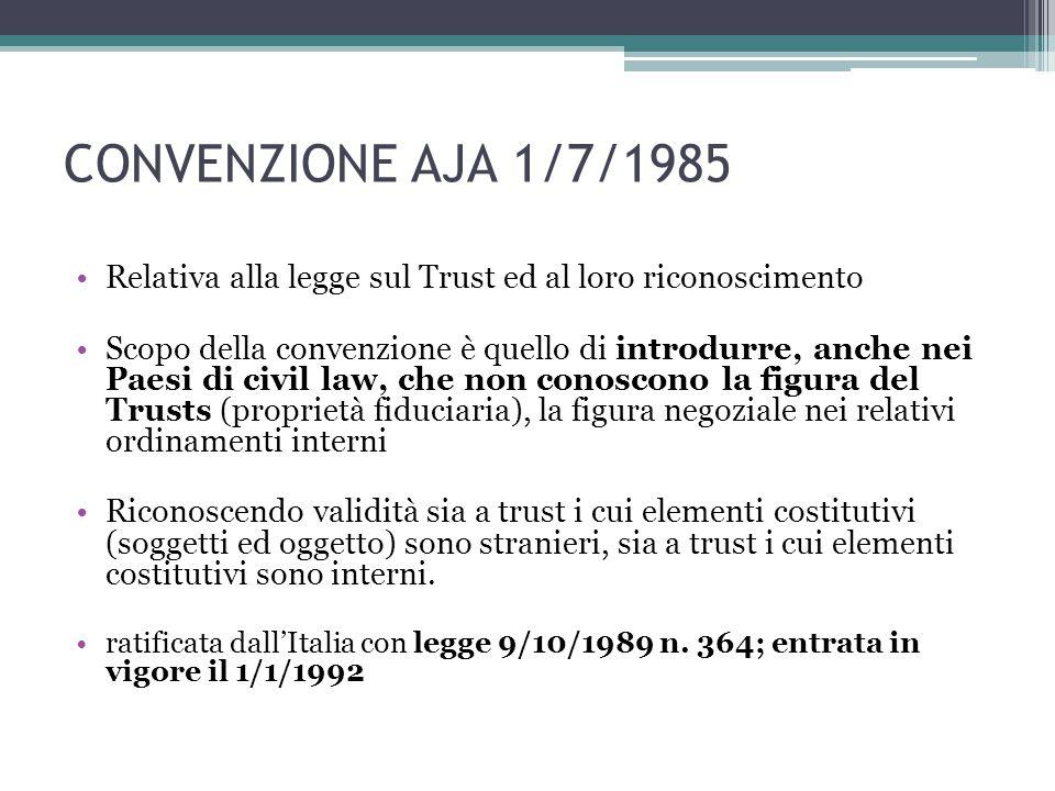CONVENZIONE AJA 1/7/1985 Relativa alla legge sul Trust ed al loro riconoscimento.