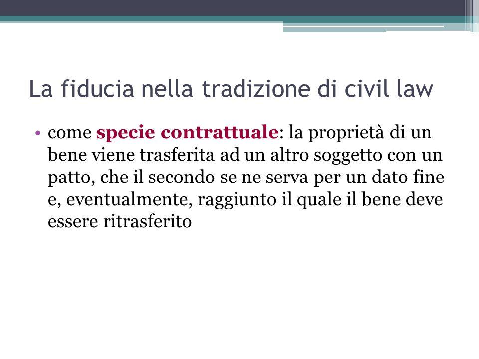 La fiducia nella tradizione di civil law