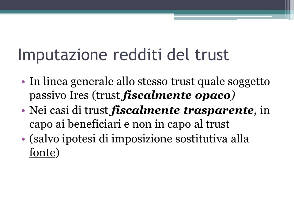 Imputazione redditi del trust
