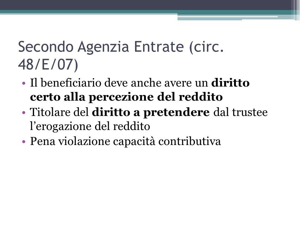 Secondo Agenzia Entrate (circ. 48/E/07)