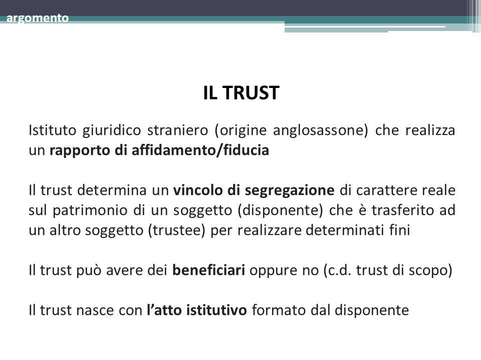 argomento IL TRUST. Istituto giuridico straniero (origine anglosassone) che realizza un rapporto di affidamento/fiducia.