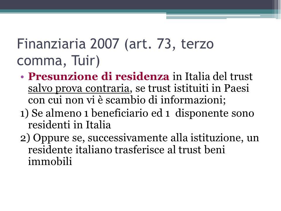 Finanziaria 2007 (art. 73, terzo comma, Tuir)