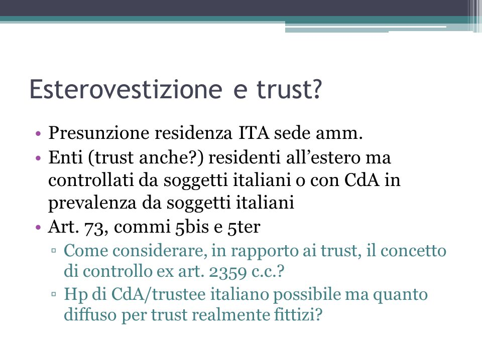 Esterovestizione e trust
