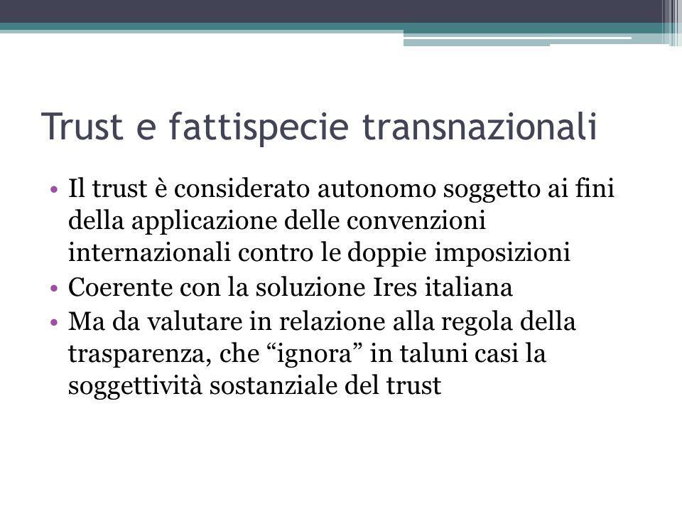 Trust e fattispecie transnazionali