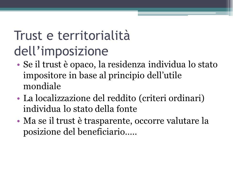 Trust e territorialità dell'imposizione