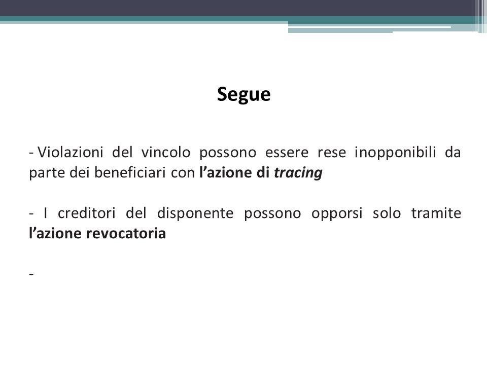 Segue Violazioni del vincolo possono essere rese inopponibili da parte dei beneficiari con l'azione di tracing.