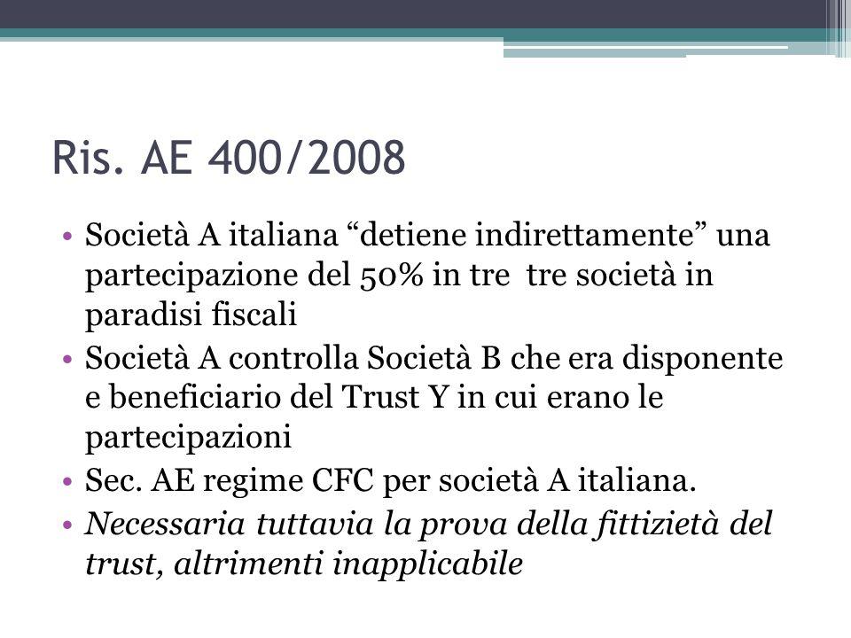 Ris. AE 400/2008 Società A italiana detiene indirettamente una partecipazione del 50% in tre tre società in paradisi fiscali.