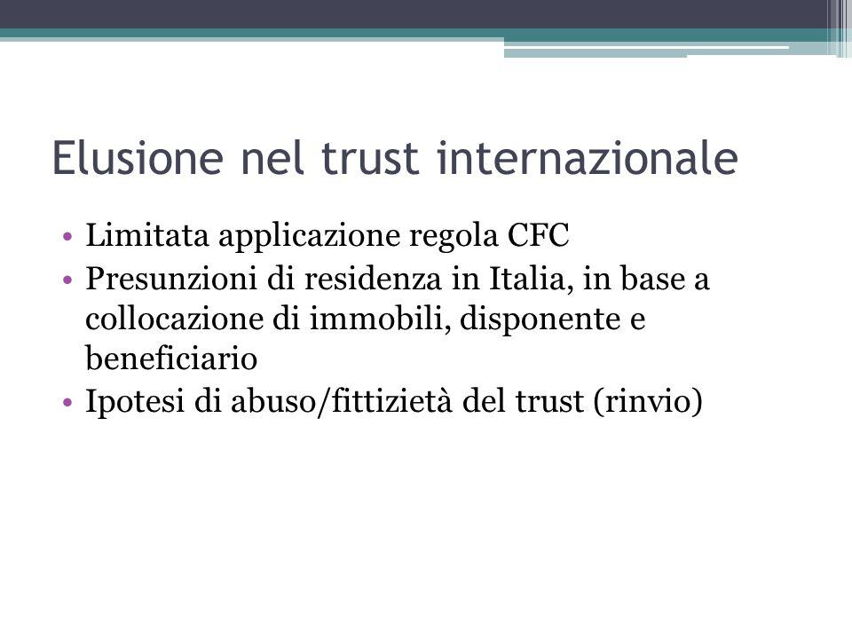 Elusione nel trust internazionale