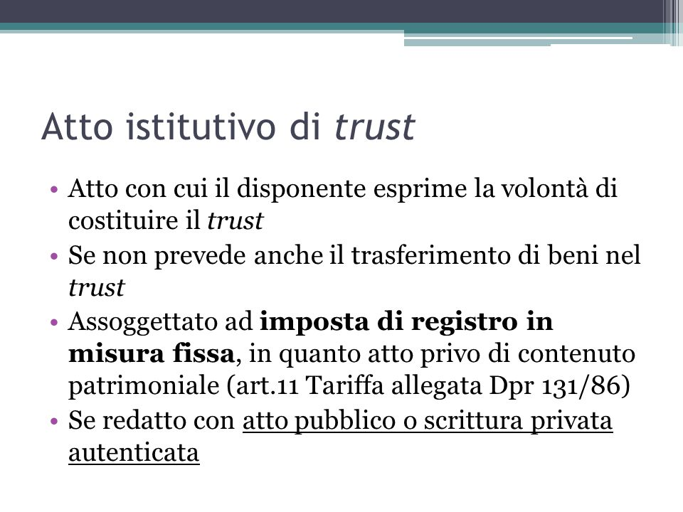 Atto istitutivo di trust