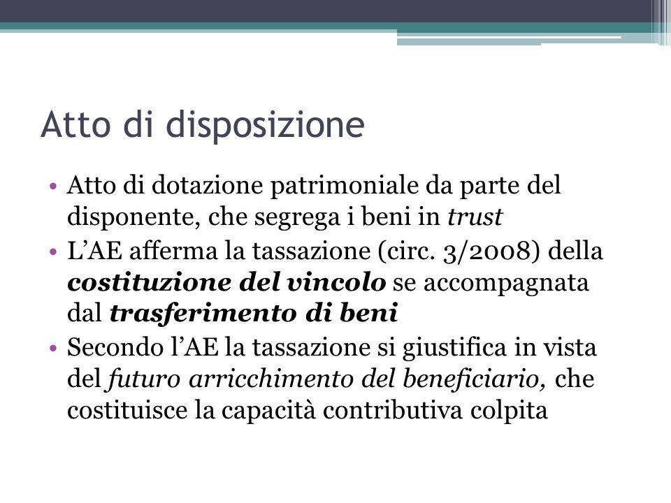 Atto di disposizione Atto di dotazione patrimoniale da parte del disponente, che segrega i beni in trust.