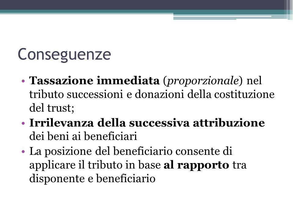 Conseguenze Tassazione immediata (proporzionale) nel tributo successioni e donazioni della costituzione del trust;