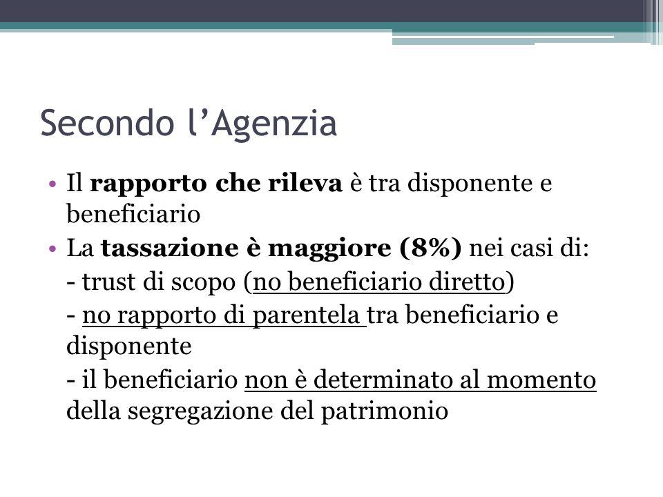Secondo l'Agenzia Il rapporto che rileva è tra disponente e beneficiario. La tassazione è maggiore (8%) nei casi di: