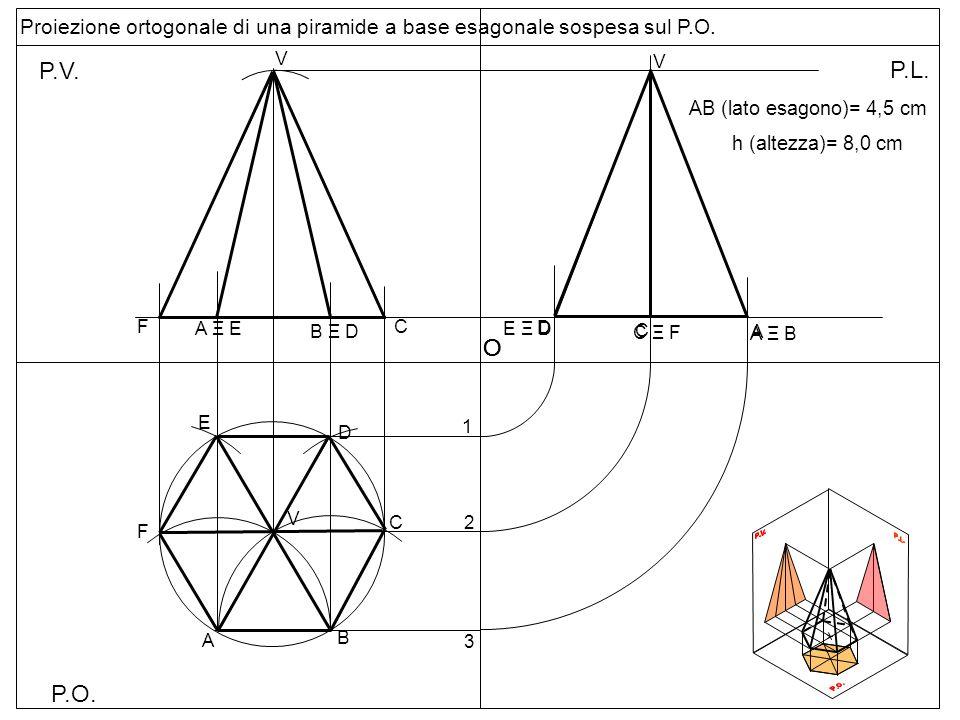 Proiezione ortogonale di una piramide a base esagonale sospesa sul P.O.