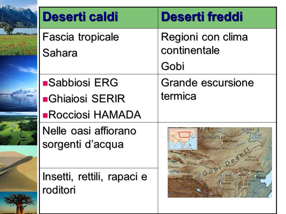 Deserti caldi Deserti freddi Fascia tropicale Sahara