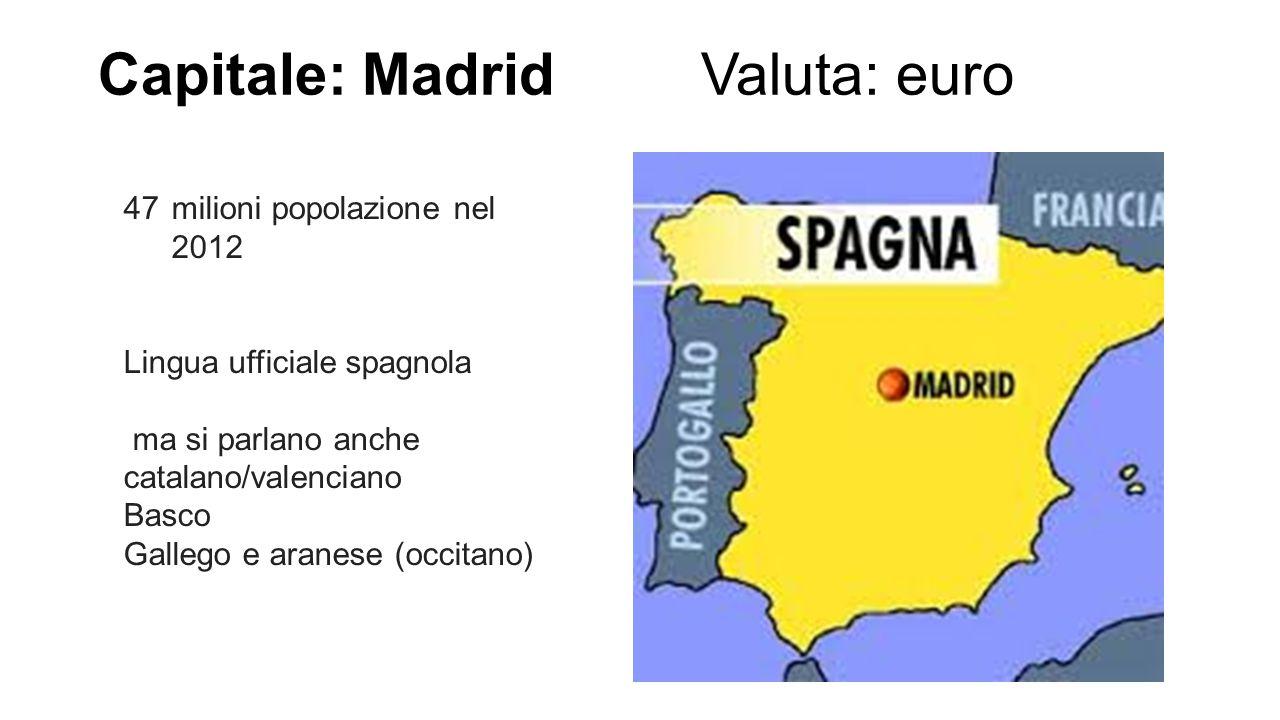 Capitale: Madrid Valuta: euro