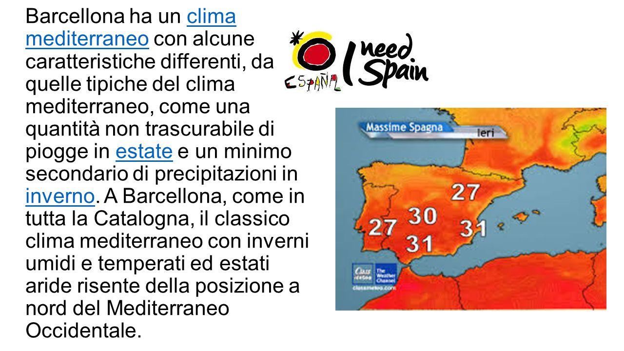 Barcellona ha un clima mediterraneo con alcune caratteristiche differenti, da quelle tipiche del clima mediterraneo, come una quantità non trascurabile di piogge in estate e un minimo secondario di precipitazioni in inverno.
