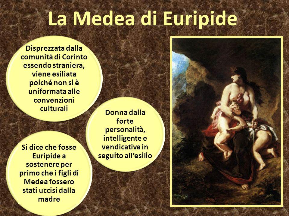 La Medea di Euripide Disprezzata dalla comunità di Corinto essendo straniera, viene esiliata poiché non si è uniformata alle convenzioni culturali.