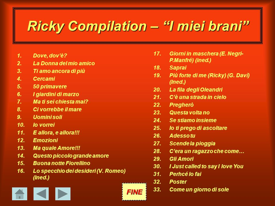 Ricky Compilation – I miei brani